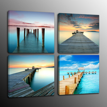 4 Panel Wall Art Canvas Print Wooden Pier Bridge Lake Sunset Painting for Dining Room Office Decor Nordic Poster Home