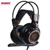 Somic atualização g941 cancelamento de ruído ativo 7.1 som surround virtual usb gaming headset com microfone vibrando para computador portátil