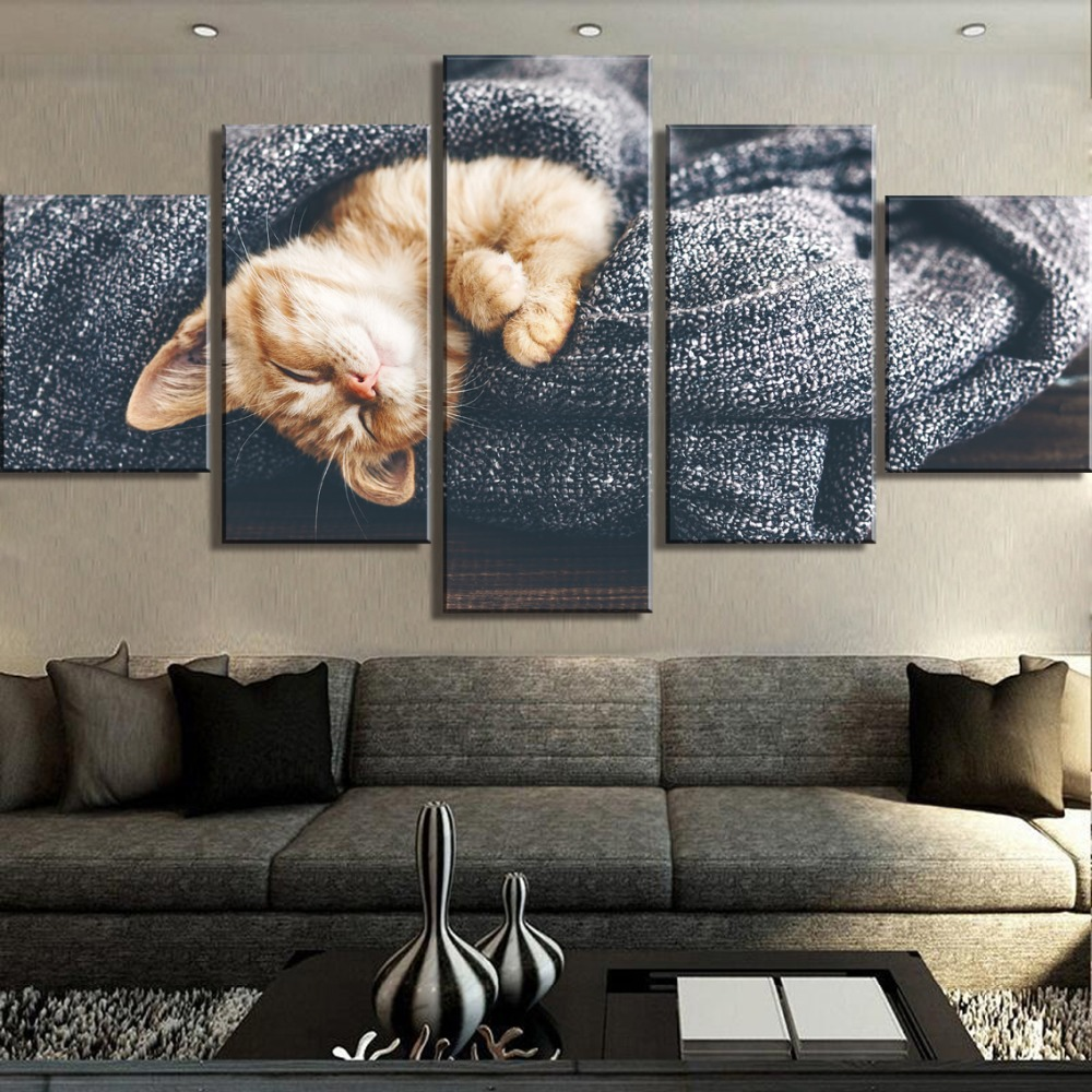 HD Print 5 Panel Cat is sleeping Picture Poster Cuadros Decoracion Paintings on Canvas Wall Art for Home Decorations Wall Decor in Painting Calligraphy from Home Garden