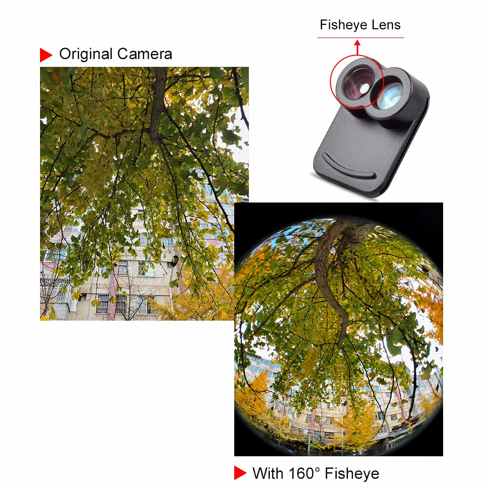 APEXEL Dual Lens fisheye wide angle macro telescope camera lens kit with back case For iPhone 7 plus 9