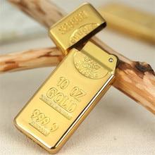 ゴールドレンガの金属コンパクトジェットブタンフリントライターガソリンライター膨張ガス地金オイルライター砥石