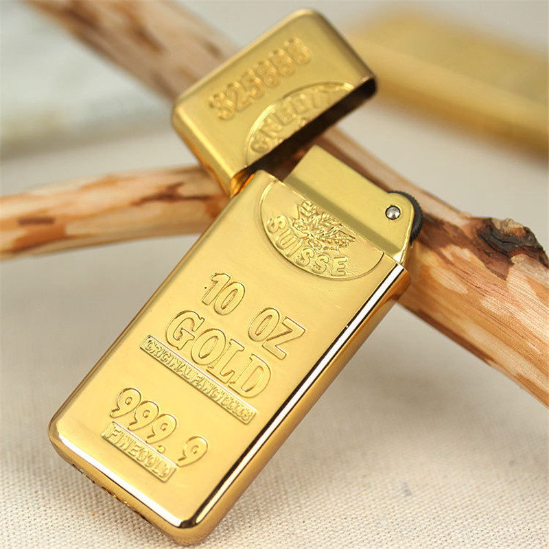 Free Shipping Gold Brick Metal Compact Jet Butane Lighter Gasoline Lighter Inflated Gas Bullion Oil Lighter Grinding Wheel-in Matches from Home & Garden