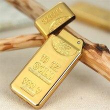 Gold Ziegel Metall Compact Jet Butan Flint Leichter Benzin Leichter Aufgeblasen Gas Bullion Öl Leichter Schleifen Rad