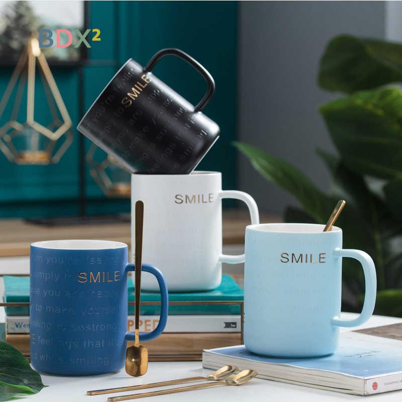 Новая керамическая кружка Камея креативная деловая кофейная чашка с ложкой