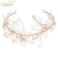 Delicate Women Leaf Headpiece Gold Crystal Bridal Hair Crown Tiaras Wedding Headband Hair Accessories Princess Crown