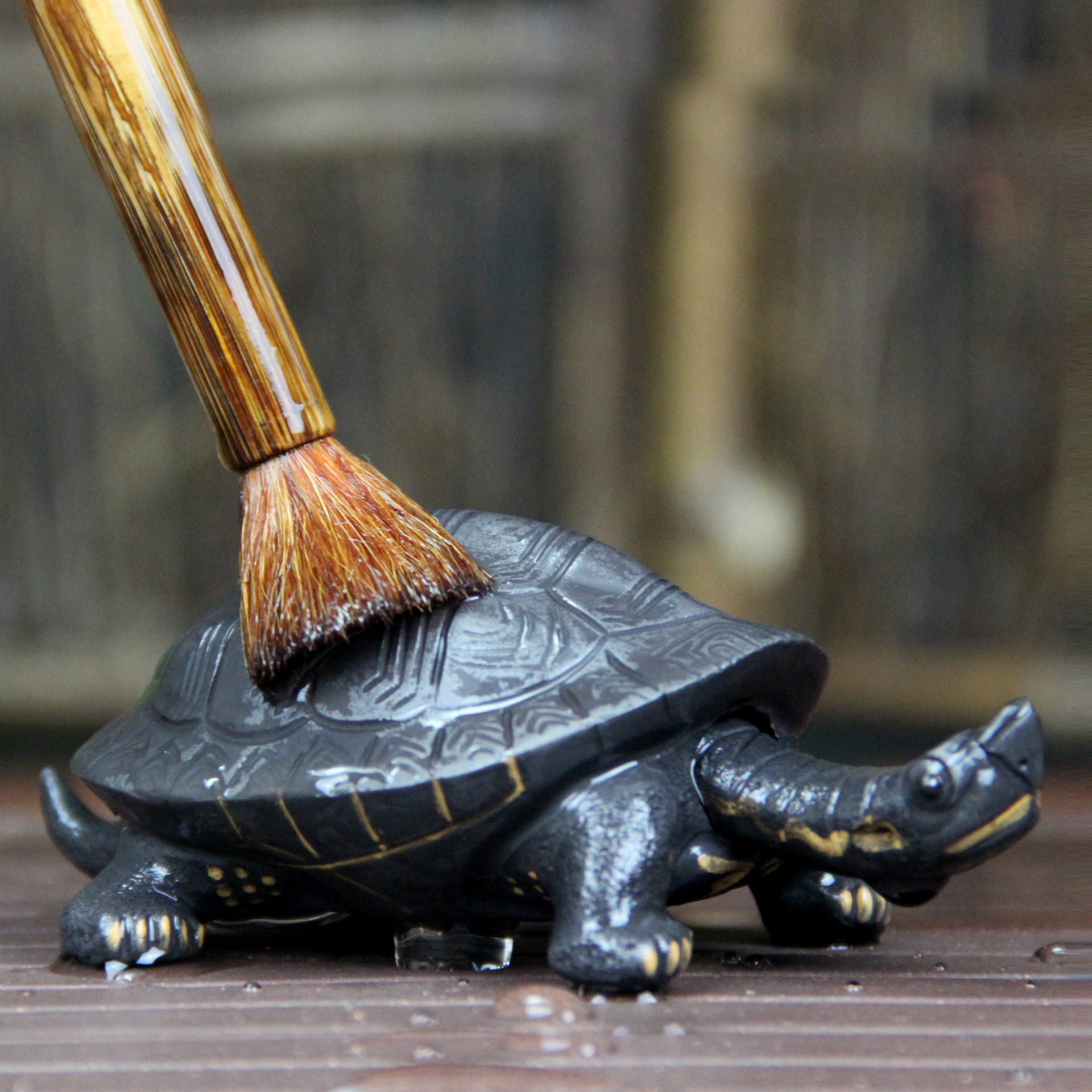 Authentic Purple Clay Tea Pet Handmade Ornaments Sculpture Tea Longevity Turtle Play Hea ...