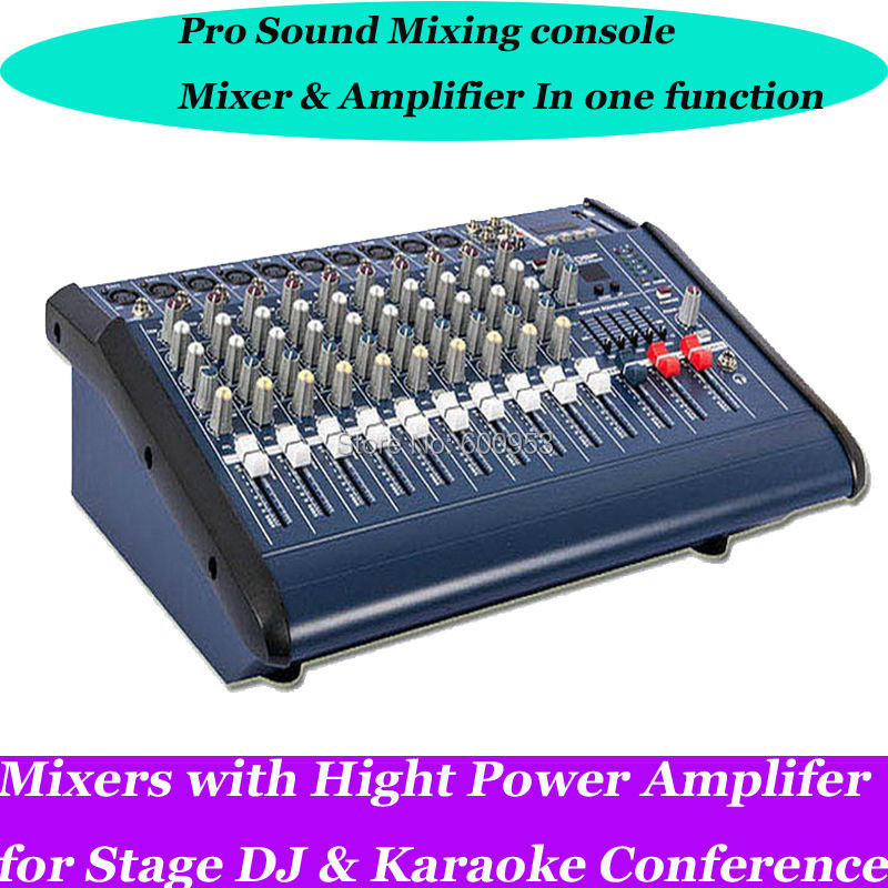 Professional 1600W 10 Channel DJ & Karaoke Powered Mixer Mixing console Amplifier Amp with USB 48v Phantom Power 16DSP leory professional 8 channel karaoke audio mixer console digital microphone sound mixing amplifier with usb 48v phantom power