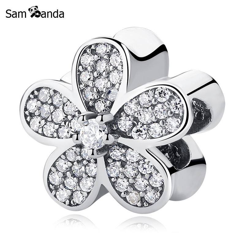 Authentic 100% 925 Sterling Silver Charm Bead Dazzling Daisy Charms Crystals 3 Colors Fit Pandora Bracelets DIY Women Jewelry