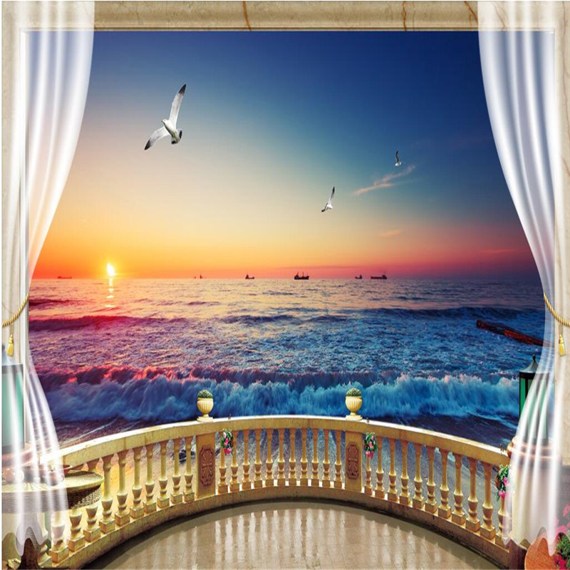Mediterranean Style Houses With Ocean Views: Beibehang Wallpaper 3D Balcony With Beach View Background