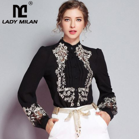 New Arrival 2019 Spring Women s Ruched Embroidery Floral Long Sleeves Elegant Fashion Designer Silk Shirts