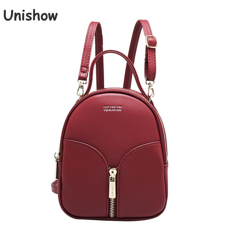 Unishow Brand Women Backpack Mini Pu Leather Female Backpack Young Girl Travel School Bag Small Lady Shoulder Backpack Bag jxsltc womens pu leather rivet backpack female backpack for adolescent girl casual small backpacks women pouch fashion lady bag