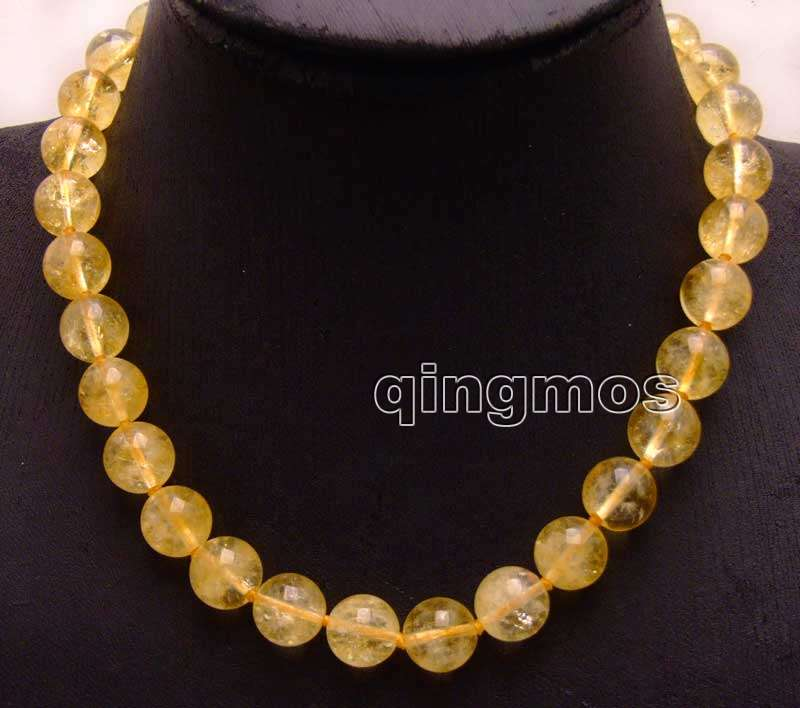 Big 12mm Round Natural Yellow Crystal 17 Necklace nec6177 Wholesale retail Free shipping