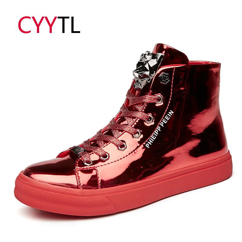 CYYTL Fashion Men's 2019 Trending Winter Shoes High-top Tiger Head Mirror Sneakers Young Boys Students Nightclub Tenis Masculino