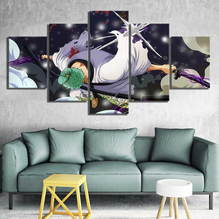 5 Buah Hd Gambar Kartun Bajak Laut Topi Jerami Roronoa Zoro One Piece Anime Poster Lukisan Kanvas Seni Untuk Dekorasi Rumah Dinding Seni Painting Calligraphy Aliexpress