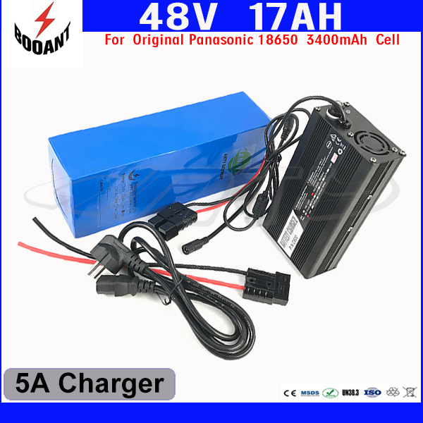 US EU Free Customs Duty Lithium 48V 1000W E-Bike Battery 48V 17Ah For Original Panasonic 18650 Cell With 5A Charger 30A BMS free customs duty 1000w 48v ebike battery 48v 20ah lithium ion battery use panasonic 2900mah cell 30a bms with 54 6v 2a charger