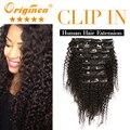 Originea brasileño rizado clip en extensiones de cabello cabeza llena 7a pelo virginal brasileño jerry curl clip en extensiones de cabello humano