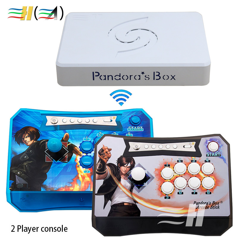 पंडोरा बॉक्स 6 1300 इन 1 वायरलेस कंसोल 2 प्लेयर्स वायरलेस स्टिक आर्केड कंट्रोलर जॉयस्टिक में 3000 गेम fba mame ps1 3 डी जोड़ सकते हैं