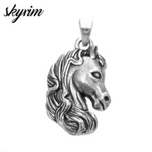 Skyrim 5pcs/lot Zinc Alloy Lucky Horse Head Animal Metal Charm Pendant DIY Necklace/Bracelet Charms for Jewelry Making(China)