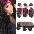 Human Hair With Ear To Ear Closure 13x4 Lace Frontal And Bundles Peruvian Loose Wave With Frontal 3 Bundles With Frontal Closure