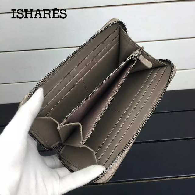 ISHARES classic Sheepskin weave women purse genuine leather long zipper handmade woven lambskin wallets lady long purse IS1316