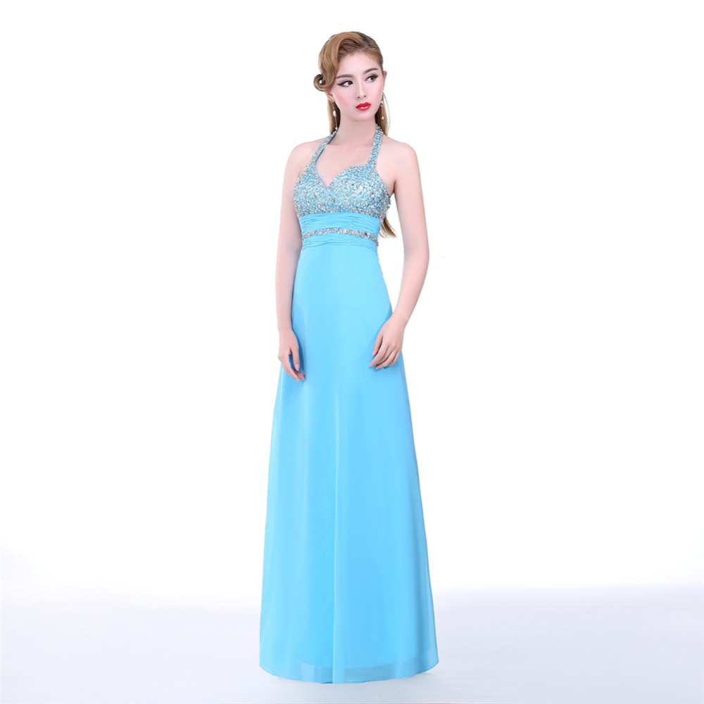 ruthshen Ice Blue Long Prom Dresses Cheap Sequins Beaded Sexy ...