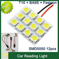 2 sets/lot T10 Festoon 3 Adapters 12 SMD 5050 white Light 12V LED reading Panel Car interior Dome light styling for ford toyota