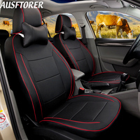 AUSFTORER 15PCS Leather Cover Seats for Toyota RAV4 Automobiles Seat Covers 2018 2017 Cowhide Seats Cushion Supports Accessories