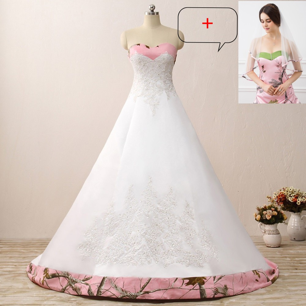 iLoveWedding Ball Gown Pink Camo Wedding Dresses Sleeveless Sweetheart Lace Up Camouflage Embroidery Bride Bridal Gowns Custom