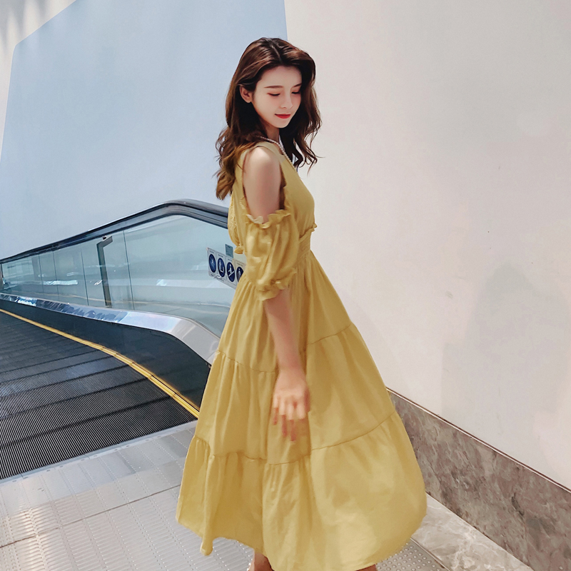 Nouveau tempérament dames robe coréenne Glamour femmes robe d'été Sexy robe sans bretelles Super belle robe