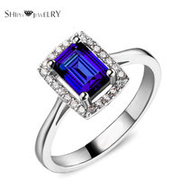 Brand Jewelry SHIPEI New Blue/Red CZ Ring in Plated White Gold with AAA Rectangle Crystal,Fashion Ring for Women