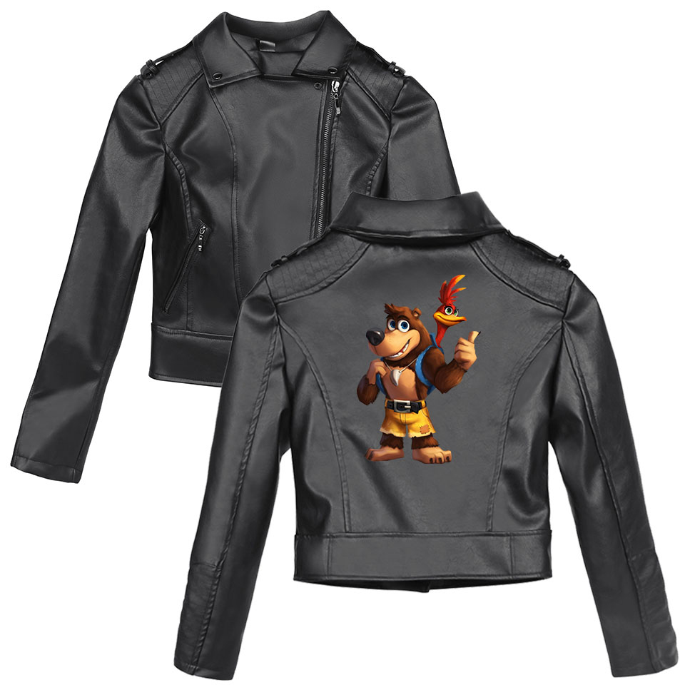 Banjo Kazooie New Loose PU Faux   Leather   Jacket Women Classic Moto Biker Jacket Spring Autumn Lady Basic Coat Plus Size Outerwear