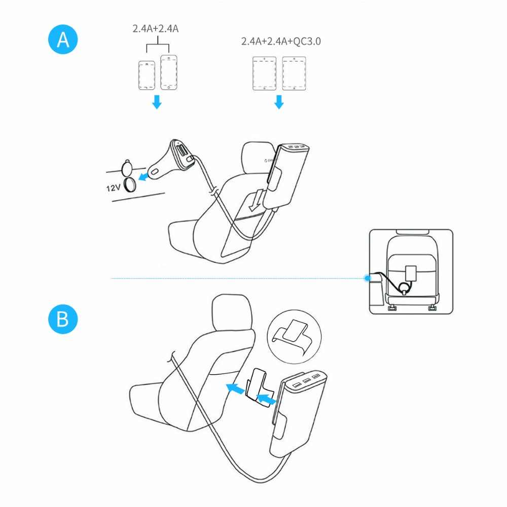 Orico 5 Port QC3.0 Usb Mobil Charger Universal USB Charger Adapter 52W untuk Mobil MPV Ponsel Tablet PC 12 V-24 V