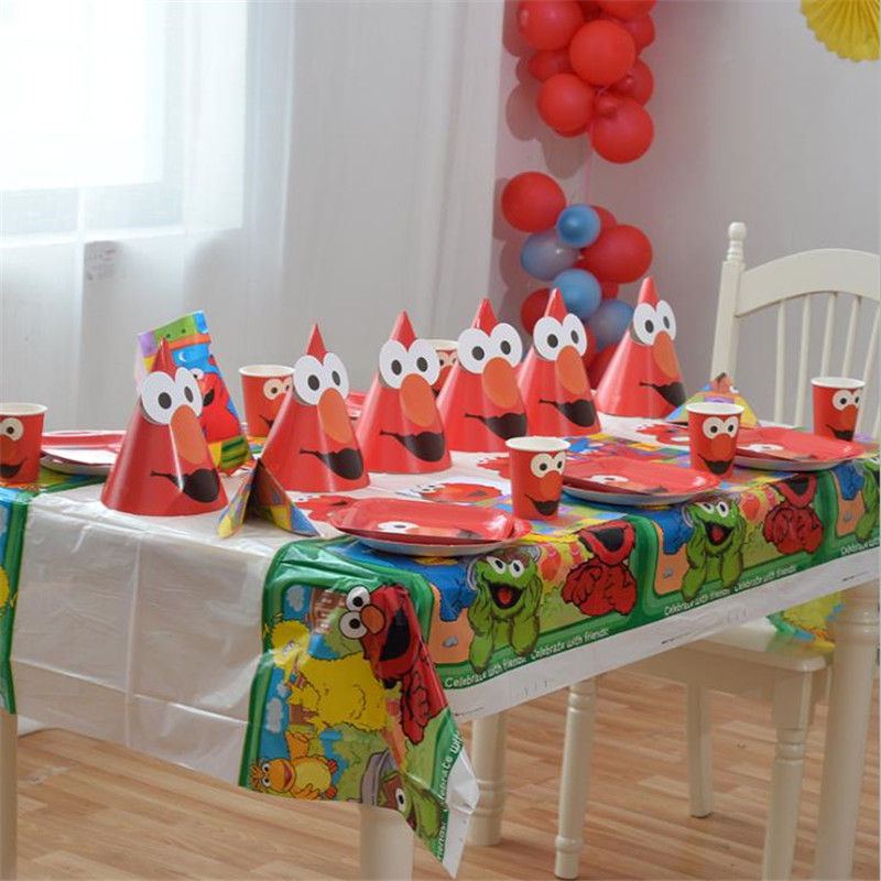 Omilut Seasame Street Elmo Birthday Party Supplies Disposable Tablecloth/Cups/Plates Balloons