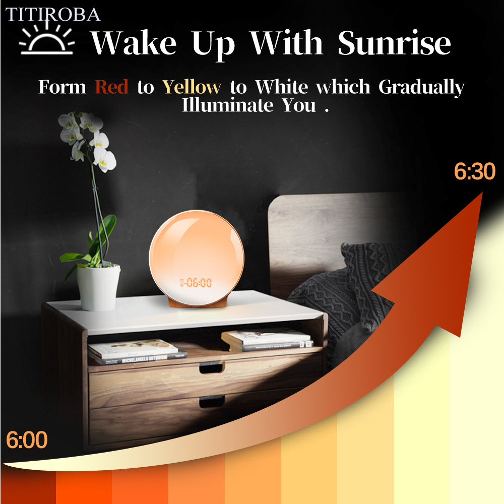 Image 3 - TITIROBA Digital Snooze Function Alarm Clock New Wake up light  Clock Sunrise Sunset Light FM Function Alarm Clock for Daily LifeAlarm  Clocks