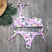 купить Sexy Swimwear Women Pink Bikini Set Print Flower Push-Up Padded Swimsuit Low Waist Bandage Bathing Beachwear Biquini Swimsuit по цене 894.91 рублей