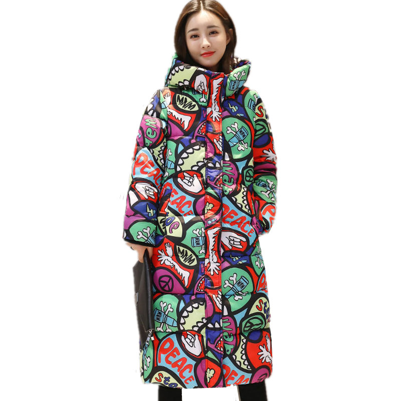 Winter Thick Down Feather Padded Cotton Hooded Slim Plus Size Knee Length Printing High Quality Warm Jacket Mujer   Parkas   MZ1956