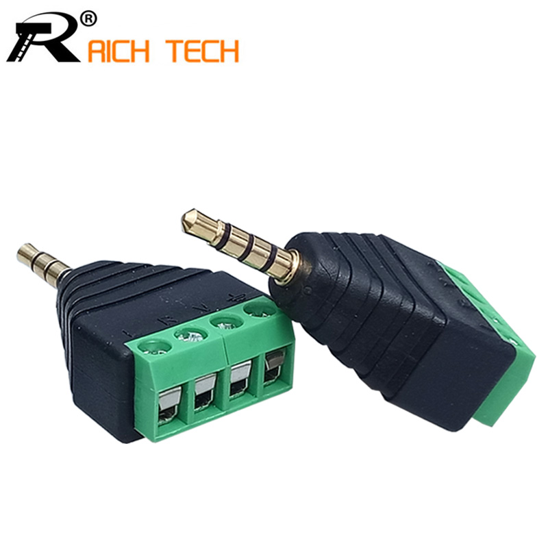 3PCS Video AV Balun 3.5mm 4 Pole Stereo Male to AV Screw Terminal Stereo Jack 3.5 mm male 4 pin Terminal Block Plug connector крестильная одежда арго уголок нарядный