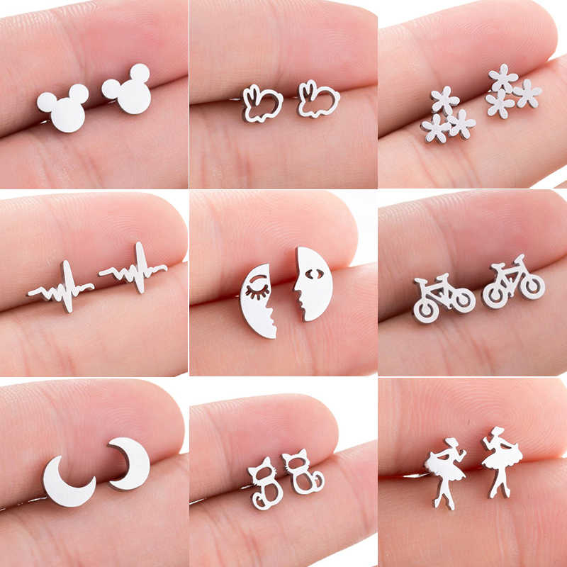 Jisensp Black Stainless Steel Mickey Stud Earrings for Women Kids Minimalist Jewelry Cat Rabbit Moon Earings Accessories aretes