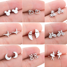 Jisensp Black Stainless Steel Mickey Stud Earrings for Women