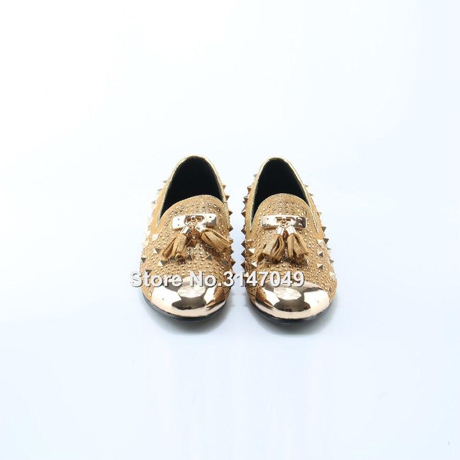 OKHOTCN/мужские золотистые туфли лодочки; большие размеры; желтые замшевые лоферы; Мокасины без шнуровки; мужские туфли лодочки для курения; св... - 2