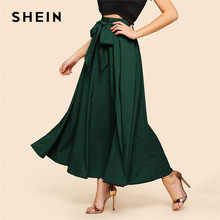 SHEIN Falda larga con lazo elegante para mujer, falda acampanada frontal con nudo verde, de cintura alta, lisa, Vintage, para fiesta, 2019