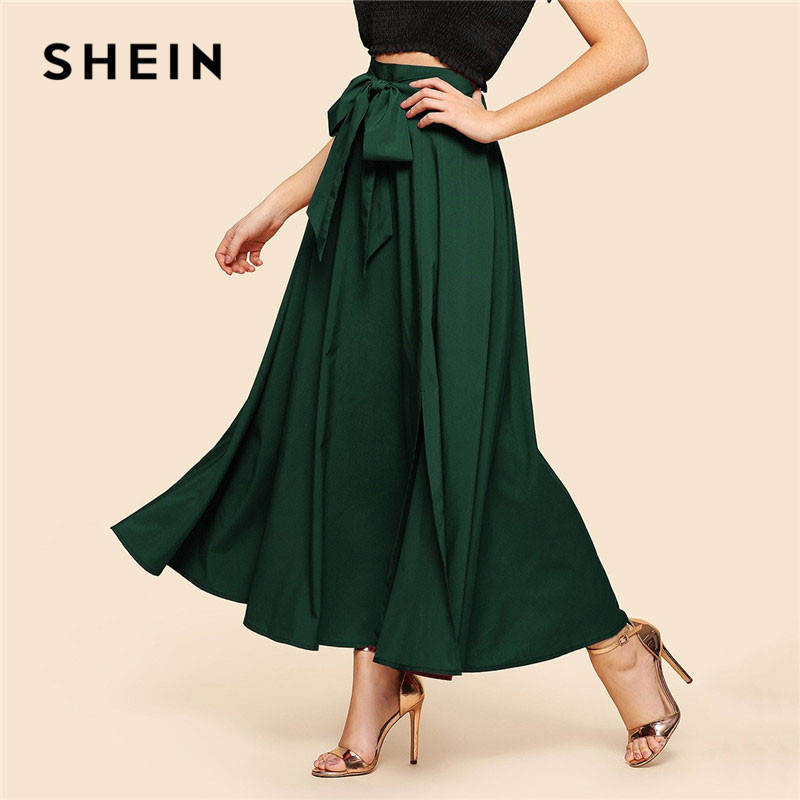 SHEIN Green Elegant Bow Knot Front Flare Maxi Skirt 2019 Spring Women High Waist Plain Vintage Full Length Party Skirt