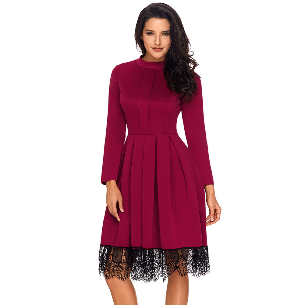 Lohill Women Preppy Style Fit And Flare Dress Knee Length Mid Lace Splicing Mesh Formal Party Gown In Dresses From S Clothing Accessories On