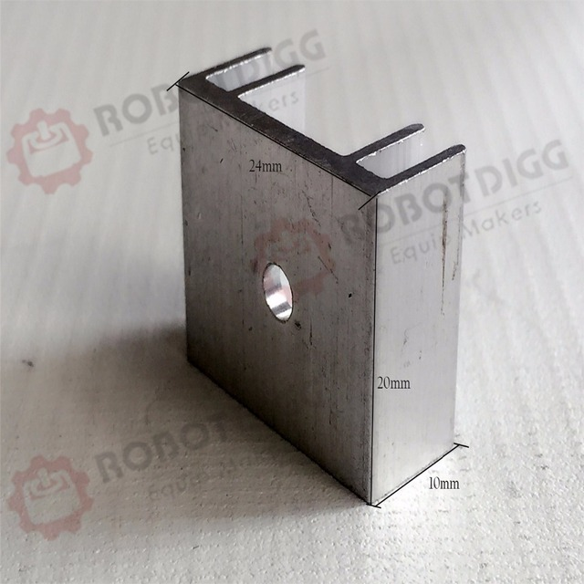 8pcs/lot  24mm length 20mm width 10mm height   High Quality Super Heat Conduction Aluminum Silver Heatsink with a Hole