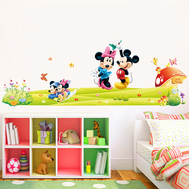 Lovely Minnie Mickey Mouse Wall Stickers Kids Room Decoration Diy Cartoon  Movie Mural Art Decals Home