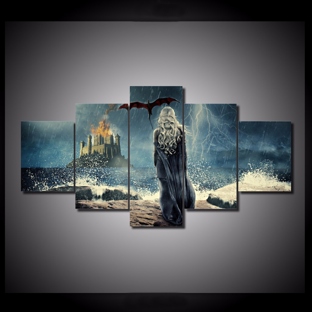 5 Pieces/set Game of thrones daenerys Wall Art For Wall
