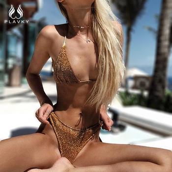 PLAVKY 2018 Sexy Gold/Silver Glitter Halter Biquini Swim Bathing Suit High Cut Swimsuit Swimwear Women Brazilian Push Up Bikini