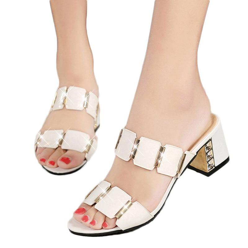 Peep Toe Plana Rhinestone Mujer Casual De 2018 blanco Verano Negro Plataforma Sandalias Talón Bohemia Zapatos wtpqC0InR
