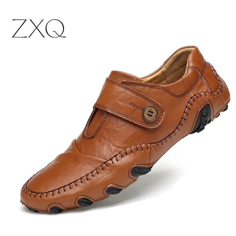 2017 neue Männer Müßiggänger Sommer Mode Für Männer Casual Leder D Bequemen Männer Wohnungen rutschfeste Atmungsaktive Schuhe