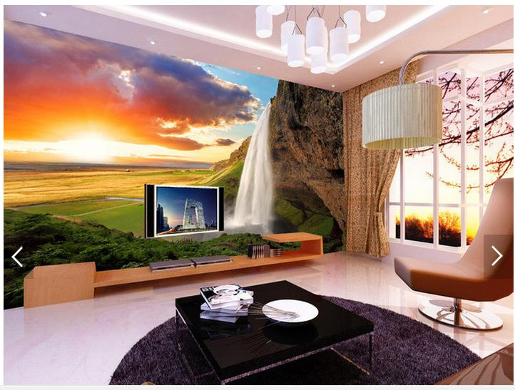 Customized 3d wallpaper 3d tv wall paper murals TV setting wall cloud mountain stream waterfall 3D living room photo wallpaper customized photo 3d murals 3d wallpapers art abstract 3d wallpaper for living room tv backdrop 3d wall paper diy home decoration